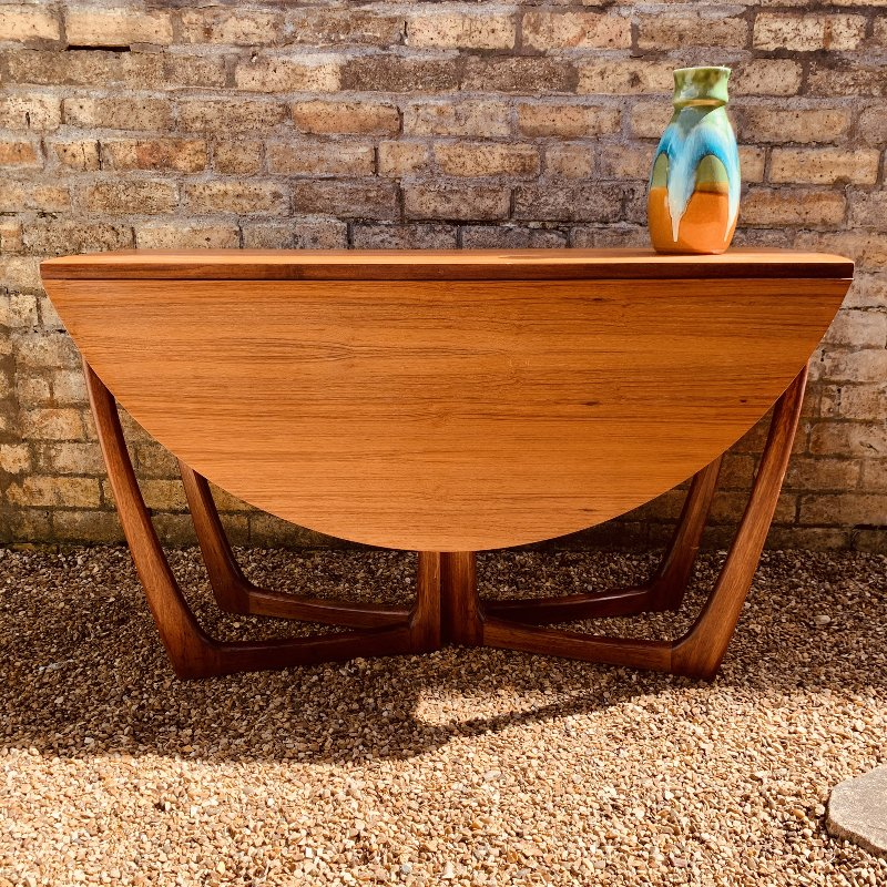 Mid Century Round Drop-Leaf Dining Table by Beithcraft